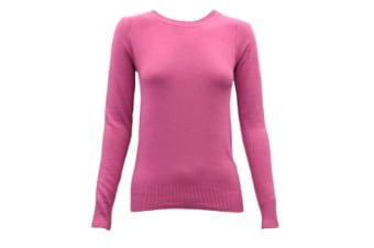 Women's Ladies Knitted Crew Neck Jumper Sweater Knitwear PulloverCotton Blend -Pink