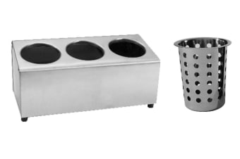 Stainless Steel Cutlery Holder With Baskets - 3 Holes