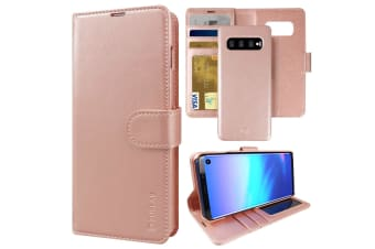 ZUSLAB Galaxy S10 Plus Genuine Leather Detachable Case with Credit Card Holder Slot Wallet for Samsung - Rose Gold