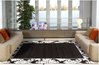 Damask Border Pattern Rug Black White