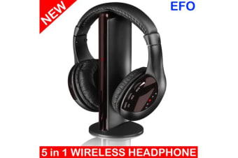 TODO 5 In 1 Wireless Multimedia Headset W/ Microphone Fm Radio Monitoring Headphones