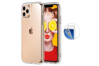 "Apple iPhone 11 Pro (5.8"") Ultra Slim Premium Crystal Clear TPU Gel Back Case by MEZON – Wireless Charging Compatible – With Screen Protector (iPhone 11 Pro, Gel)"
