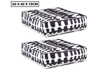 2x Gracious Living 60cm Outdoor Inflatable Air Ottoman/Cushion Square w/Cover CH