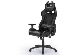 OVERDRIVE Reclining Gaming Chair Black Computer Seat Neck Lumbar Office Horns
