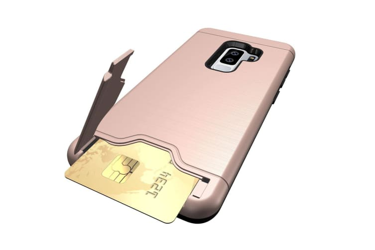 For Samsung Galaxy S9 PLUS Case Brushed Texture Cover with Card Holder Rose Gold
