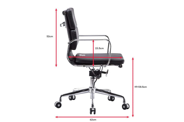 Ergolux Executive Eames Replica Low Back Padded Office Chair (Black)