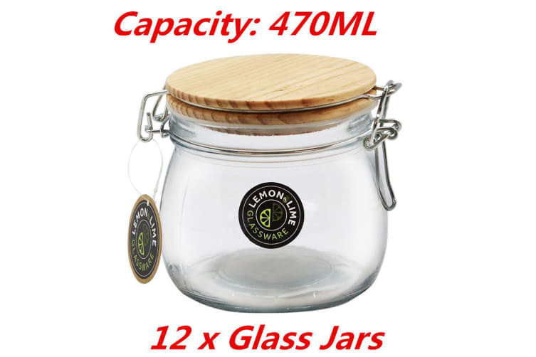 12 x 470ML Round Food Storage Jar Glass Jars Canister Container Wooden Clip Lock Lid