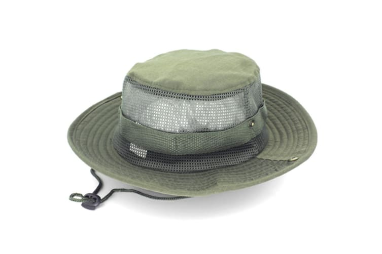 Outdoor Fishing Wide Caps, Canvas Boonie Hunting Fishing Caps Green