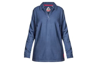 Hard Yakka Women's Bulwark iQ Flame Resistant Long Sleeve Polo (Dark Blue, Size S)