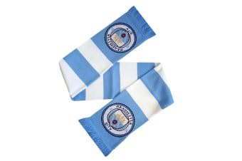 Manchester City FC Official Striped Football Supporters Crest/Logo Bar Scarf (White/Blue)