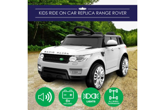 Kids Ride-On Car Range Rover Inspired White w/ Remote MP3 And Electric Battery