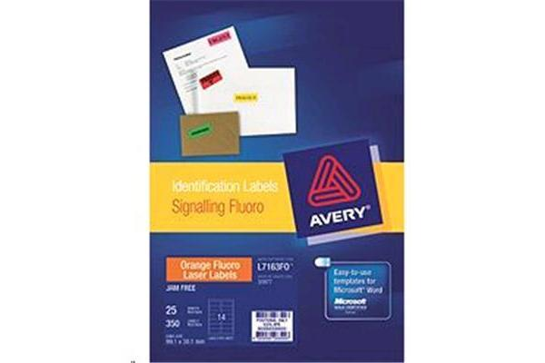 AVERY LABELS ORANGE 14 UP 25 SHEETS 99.1X38.1MM FLUORO L7163-25FO