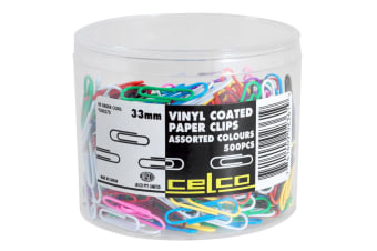 500pc Celco Vinyl Coated Paper Clips Assorted Colours