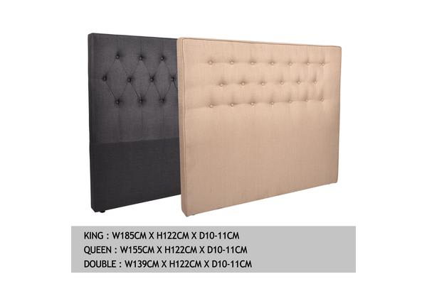 King Size Fabric Tufted Bed Headboard in Beige