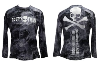 2XL Bone Ocean Thug Distressed Long Sleeve Fishing Shirt - Lightweight Fishing Jersey