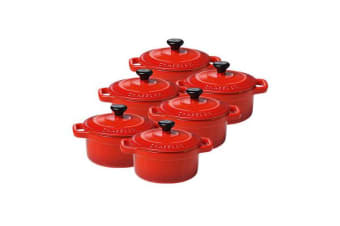 Chasseur La Cuisson Mini Cocotte 10cm Set of 6 Inferno Red