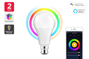 Kogan SmarterHome™10W RGB + CCT Colour & Warm/Cool White Smart Bulb (B22) - Pack of 2
