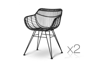 Set of 2 Rattan Dining Chair (Black)