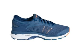 ASICS Women's Gel-Kayano 24 Running Shoe (Smoke Blue/Dark Blue/Canteloupe)