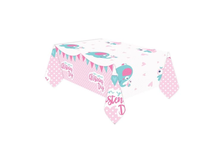 Amscan On Your Christening Day Tablecover (Pink) (1.8m x 1.2m)