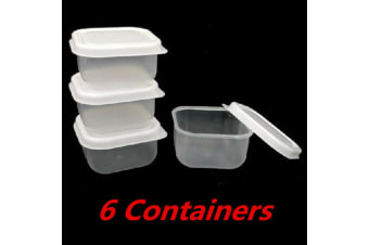 6 x Plastic 60ml Mini Square Storage Container Containers Clear Craft Box Lids BPA F