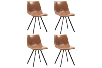 vidaXL Dining Chairs 4 pcs Shiny Brown Faux Leather