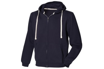 Front Row Mens Zip Through Hooded Sweatshirt / Hoodie (Navy) (2XL)