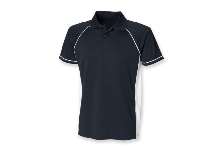 Finden & Hales Mens Panel Performance Sports Polo T-Shirt (Navy/White) (M)