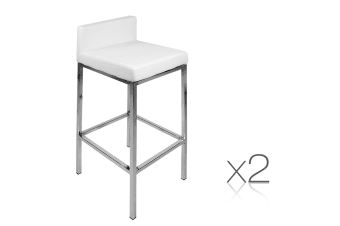 Set of 2 PU Leather Low Backed Kitchen Bar Stool (White)