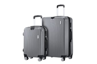 2 Pcs Luggage Set Suitcase Trolley Carry On Travel Storage TSA Hard Case Lightweight - Grey