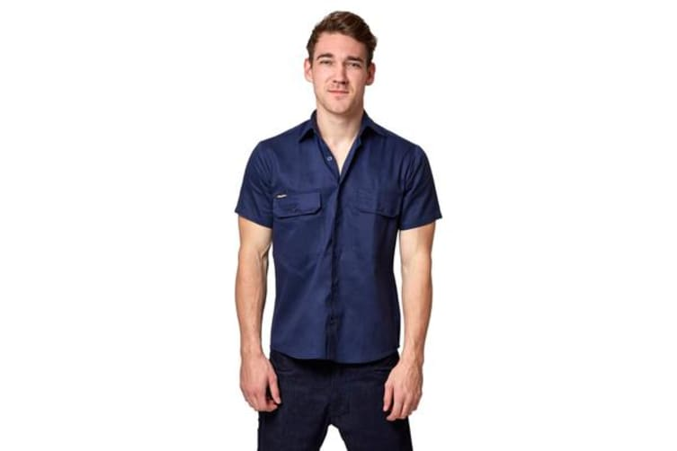 King Gee Open Front Drill Shirt (Navy, Size XS)