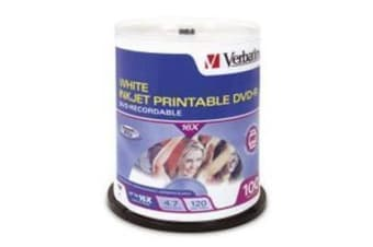 "Verbatim DVD-R 100Pk Spindle white InkJet Printable 4.7GB 16x ""Great product"