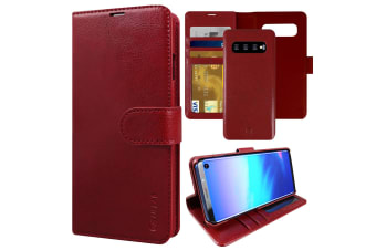 ZUSLAB Galaxy S10 Plus Genuine Leather Detachable Case with Credit Card Holder Slot Wallet for Samsung - Red