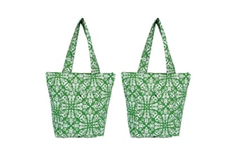 2PK Sachi Insulated Thermal Cooler Shopping Bag Storage Market Tote Bohemian GRN