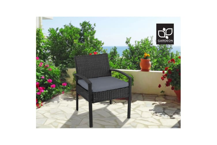 Outdoor Furniture Rattan Chair Bistro Wicker Garden Patio Cushion Black