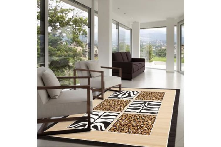 African Print Black and Off White Rug 230x160cm