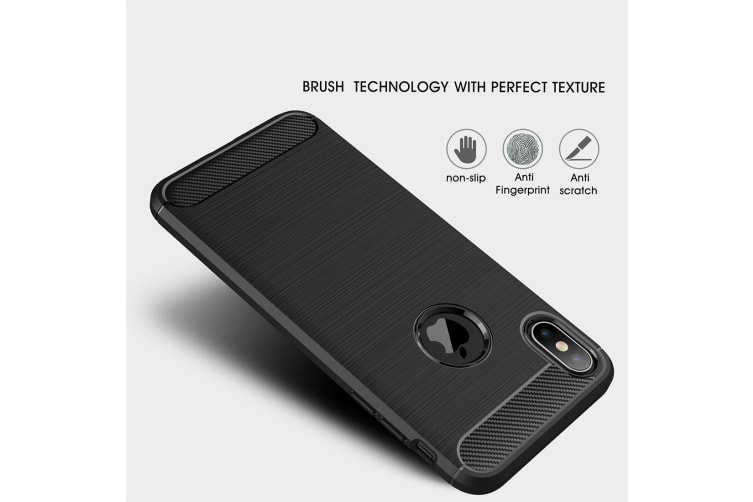 For iPhone XS MAX Cover Carbon Fiber Texture Shockproof Shield Back Case Black