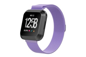Milanese Loop Metal Replacement Bracelet Strap Wristbands For Fitbit Versa Fitness Smart Watch Purple Small Size