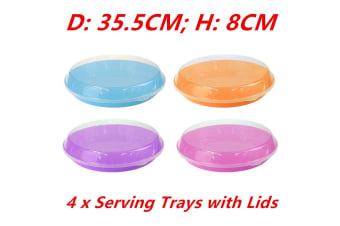 4 x Food Serving Tray Clear Lid Round Plastic Food Tray Colorful Base Container