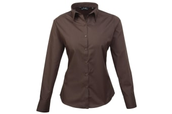 Premier Womens/Ladies Poplin Long Sleeve Blouse / Plain Work Shirt (Brown) (12)