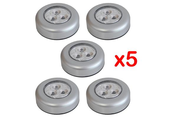 3 Led Battery Powered Touch Push Led Lamp Adhesive Back Mount [Pack Of 5]