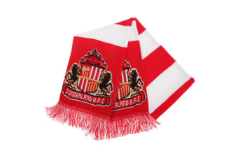 Sunderland AFC Official Football Supporters Crest/Logo Bar Scarf (White/Red)