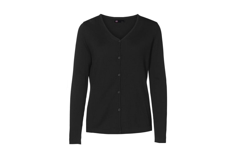 ID Womens/Ladies Fitted Button Up Cardigan (Black) (2XL)