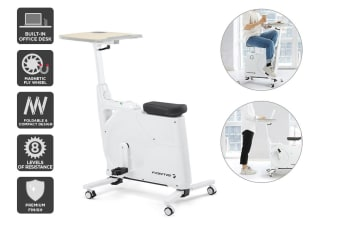 Fortis Home & Office Exercise Bike with Height Adjustable Desk (White)