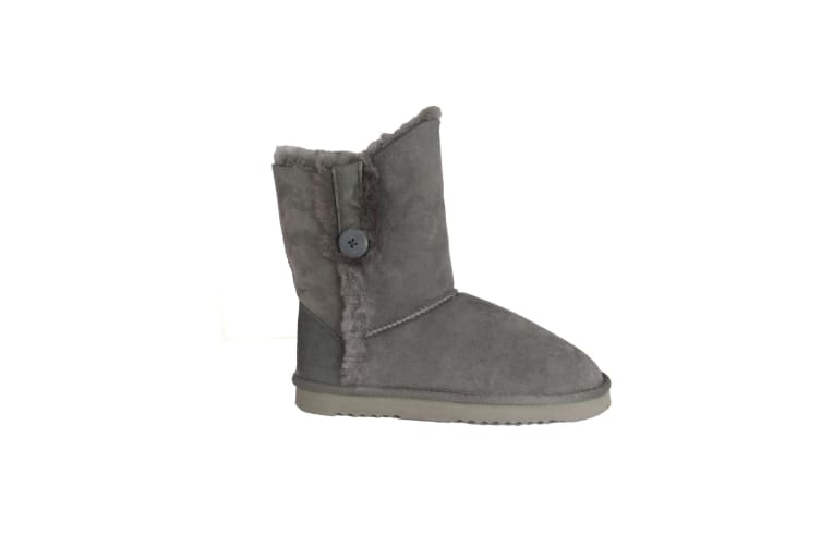 Eastern Counties Leather Womens/Ladies Lacey Sheepskin Button Boots (Grey) (4 UK)
