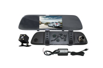"Elinz 5"" Rear View Mirror Car Dash Cam Reversing Camera Recorder Hardwire Kit Charger"