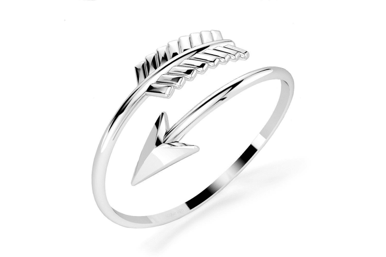 .925 Spin Arrow Fashion Ring-Silver Size US 8