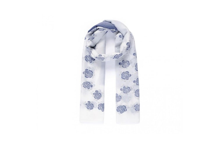 Intrigue Womens/Ladies Rose boarder Print Scarf (Blue/White) (One Size)