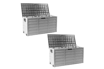 Grey 290L 2X Lockable Outdoor Storage Box