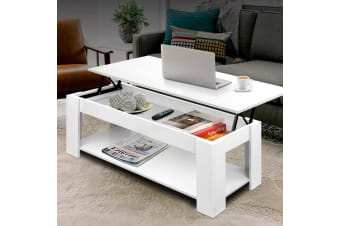 Lift Up Top Coffee Table Tea Side Interior Storage Space Shelf White